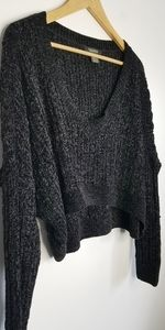 Revamped black chenille cropped oversize sweater